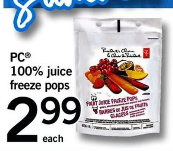PC 100% Juice Freeze Pops