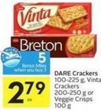 Dare Crackers 100-225 g - Vinta Crackers 200-250 g or Veggie Crisps 100 g - 5 Air Miles Bonus Miles