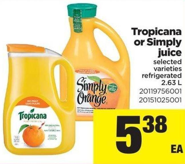 Tropicana Or Simply Juice - 2.63 L