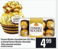 Ferrero Rocher Chocolate Box 122-200 G Or Grand Ferrero Rocher Chocolate 125 G