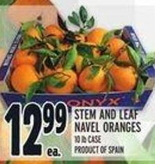 Stem and Leaf Navel Oranges