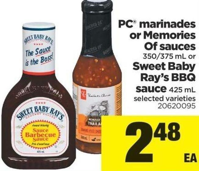 PC Marinades Or Memories Of Sauces - 350/375 Ml Or Sweet Baby Ray's Bbq Sauce - 425 Ml