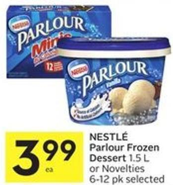 Nestlé Parlour Frozen Dessert 1.5 L or Novelties 6-12 Pk Selected