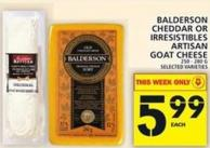 Balderson Cheddar Or Irresistibles Artisan Goat Cheese