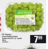 PC Organics Green Seedless Grapes - 907 g