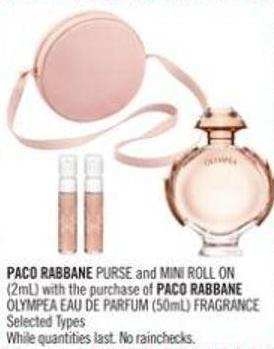 Paco Rabbane Purse and Mini Roll On (2ml) With The Purchase of Paco Rabbane Olympea Eau De Parfum (50ml) Fragrance