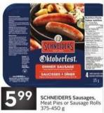 Schneiders Sausages - Meat Pies or Sausage Rolls 375-450 g