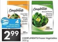 Compliments Frozen Vegetables 500 g - 4 Air Miles Bonus Miles