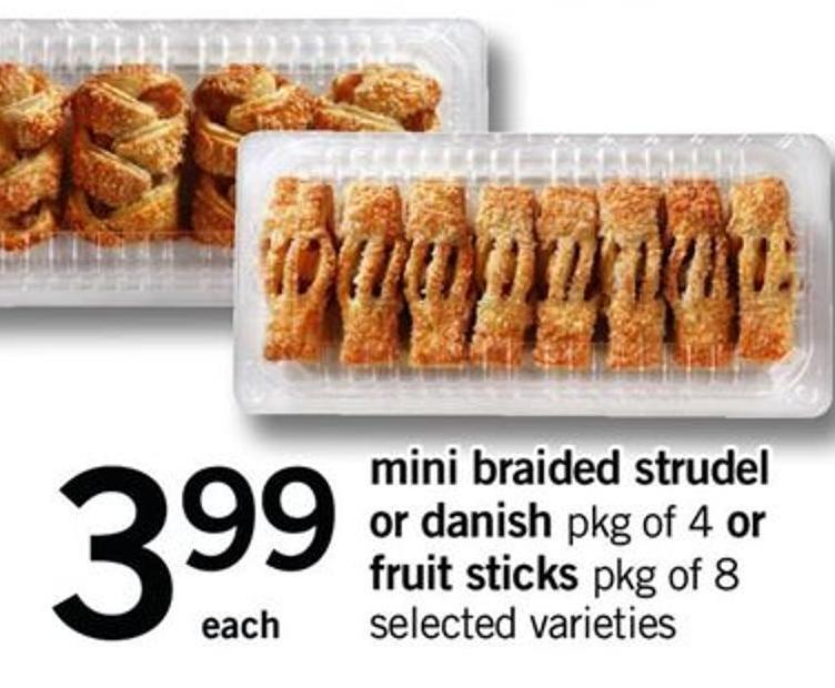 Mini Braided Strudel Or Danish Pkg of 4 Or Fruit Sticks - Pkg of 8