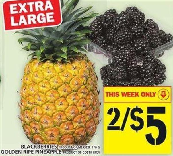 Blackberries Or Golden Ripe Pineapple