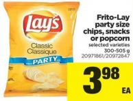 Frito-lay Party Size Chips - Snacks Or Popcorn - 300-505 g