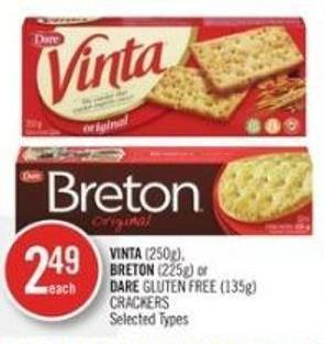 Vinta (250g) - Breton (225g) or Dare Gluten Free (135g) Crackers