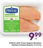 Maple Leaf Prime Organic Boneless Skinless Chicken Breasts