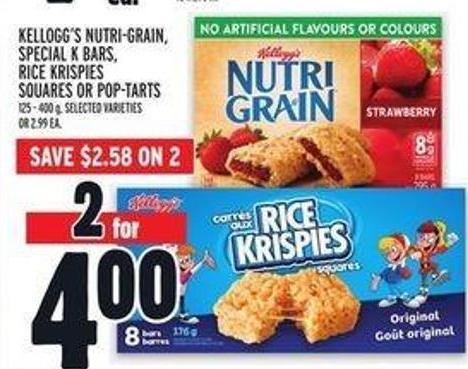 Kellogg's Nutri‑grain - Special K Bars - Rice Krispies Squares Or Pop‑tarts