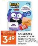 Schneiders or Maple Leaf Wieners 75-132 g Selected