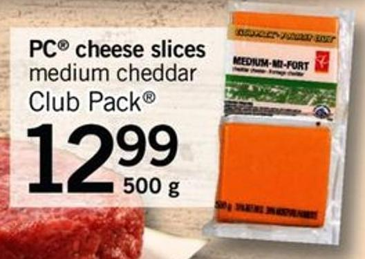 PC Cheese Slices Medium Cheddar - 500 G