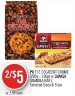 PC The Decadent Cookie (280g - 300g) or Quaker Granola Bars