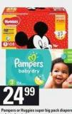 Pampers Or Huggies Super Big Pack Diapers - 48-124's