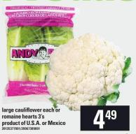 Large Cauliflower Each Or Romaine Hearts 3's