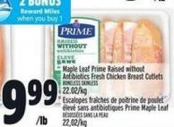 Maple Leaf Prime Raised Without Antibiotics Fresh Chicken Breast Cutlets
