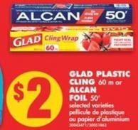 Glad Plastic Cling - 60 M Or Alcan Foil - 50'