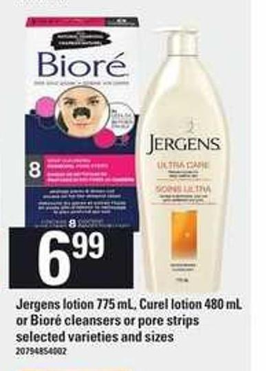 Jergens Lotion 775 mL - Curel Lotion 480 mL - or Bioré Cleansers Or Pore Strips