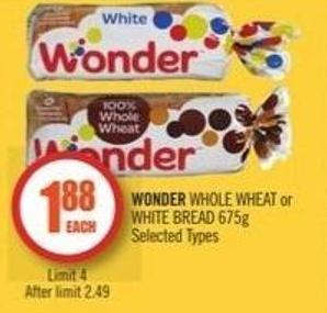 Wonder Whole Wheat or White Bread