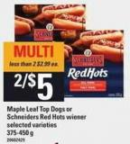 Maple Leaf Top Dogs Or Schneiders Red Hots Wiener - 375-450 g
