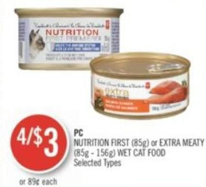 PC  Nutrition First (85g) or Extra Meaty (85g - 156g) Wet Cat Food
