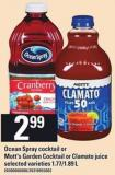 Ocean Spray Cocktail Or Mott's Garden Cocktail Or Clamato Juice - 1.77/1.89 L