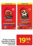Ol' Roy Complete Nutrition or Meaty Chunks Dog Food 18 Kg