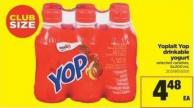 Yoplait Yop Drinkable Yogurt - 6x200 mL
