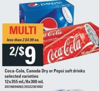 Coca-cola - Canada Dry Or Pepsi Soft Drinks - 12x355 mL / 8x300 mL
