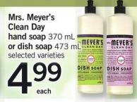 Mrs. Meyer's Clean Day Hand Soap 370 Ml Or Dish Soap 473 Ml