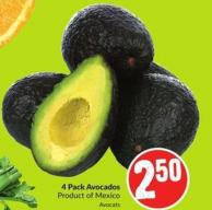 4 Pack Avocados Product of Mexico