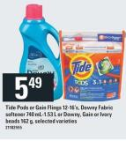 Tide Pods or Gain Flings 12-16's - Downy Fabric Softener 740 Ml-1.53 L or Downy - Gain or Ivory Beads - 162 g