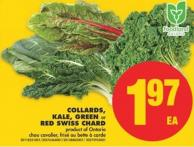 Collards - Kale - Green or Red Swiss Chard