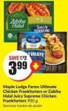 Maple Lodge Farms Ultimate Chicken Frankfurters or Zabiha Halal Juicy Supreme Chicken Frankfurters 900 g