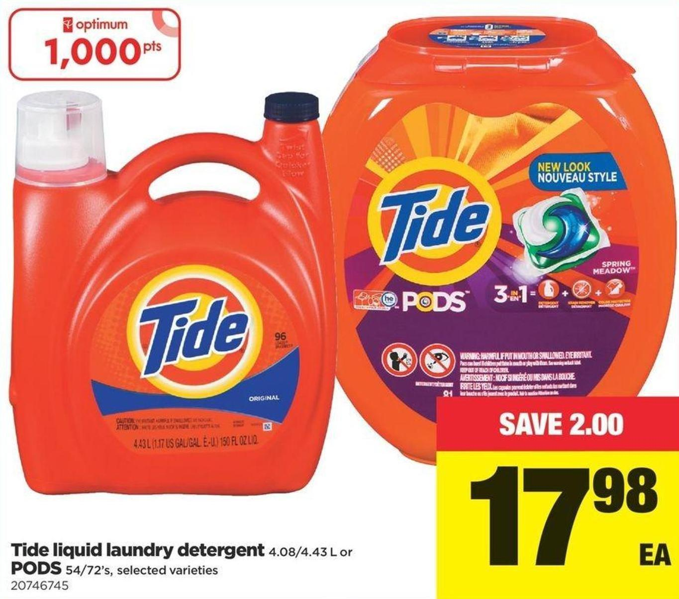Tide Liquid Laundry Detergent - 4.08/4.43 L Or PODS 54-72's