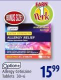 Option+ Allergy Cetirizine Tablets 30+6