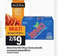 Alexia Fries 425-576 G Or Zevia Naturally Sweetened Soda 6x355 Ml