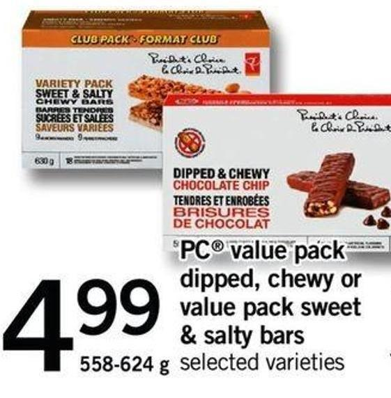 PC Value Pack PC Value Pack Dipped - Chewy Or Value Pack Sweet & Salty Bars - 558-624g