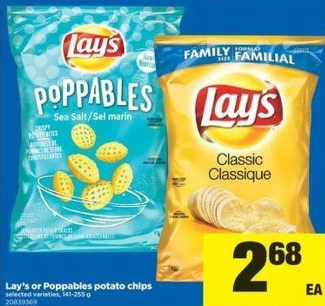 Lay's Or Poppables Potato Chips - 1414-255 G