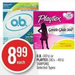 O.b. (40's) or Playtex (36's - 40's) Tampons