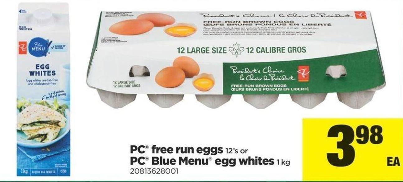 PC Free Run Eggs - 12's Or PC Blue Menu Egg Whites - 1 Kg