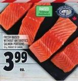 Fresh Raised Without Antibiotics Salmon Portions 113 g