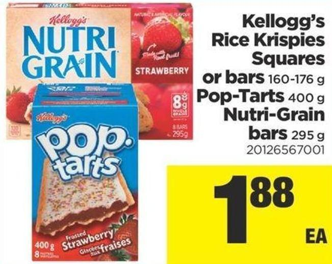 Kellogg's Rice Krispies Squares Or Bars - 160-176 g - Pop-tarts - 400 g Nutri-grain Bars - 295 g