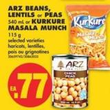 Arz Beans - Lentils or Peas - 540 mL or Kurkure Masala Munch - 115 g