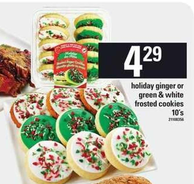Holiday Ginger Or Green & White Frosted Cookies