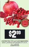 Cranberries - 340 G Or Pomegranates